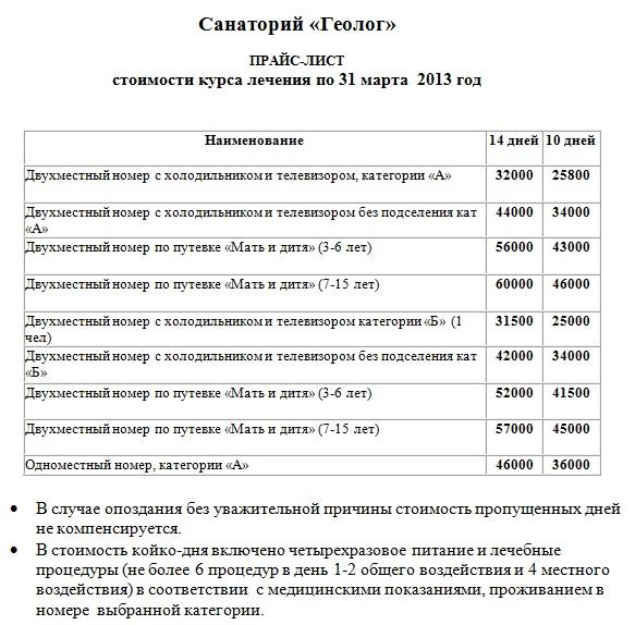 Цены в санатории Геолог